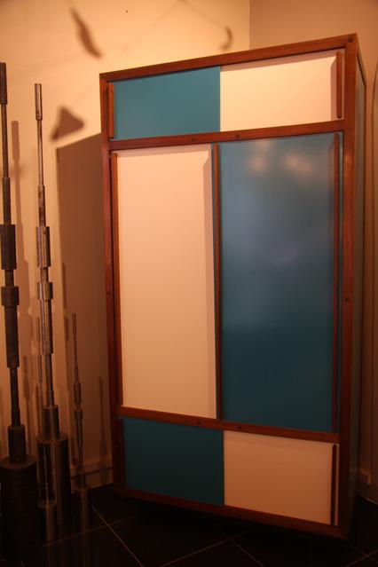 armoire blanc bleu ann es 60 andre sornay. Black Bedroom Furniture Sets. Home Design Ideas