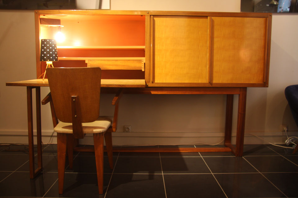 meuble secretaire andre sornay 1957. Black Bedroom Furniture Sets. Home Design Ideas