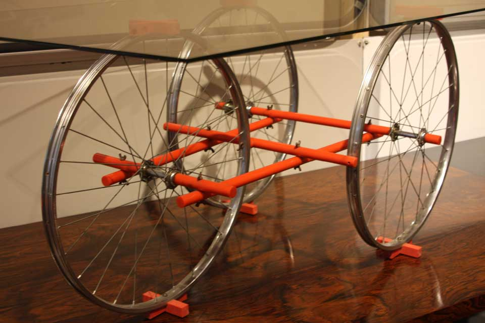 table basse bicyclette coralite