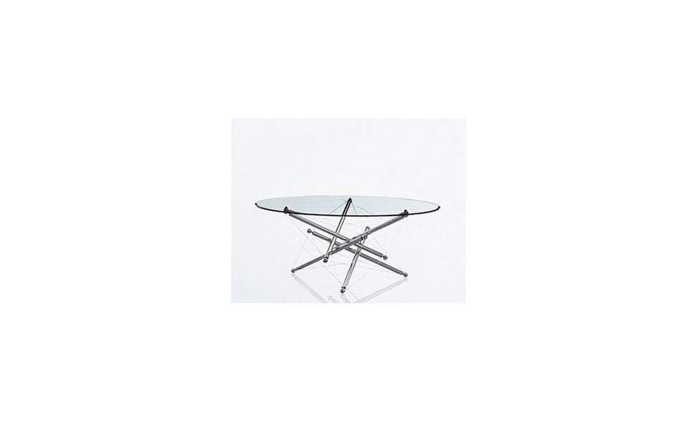 Table Théodore Waddel acier chromé et plateau de verre