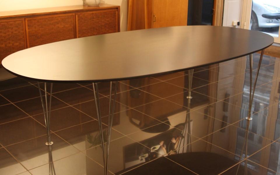 grande table de bruno mathsonn en acajou et metal pr sent par 39galerie 39galerie s b et. Black Bedroom Furniture Sets. Home Design Ideas